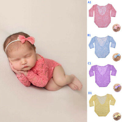 Newborn Baby Kids Girls Lace Floral Romper Bodysuit Photo Props Photography new