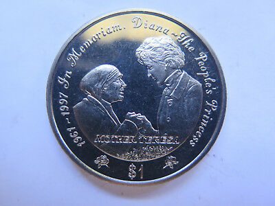 1997 Sierra Leone 1 Leone Crown Size Coin Lady Diana Uncirculated Condition