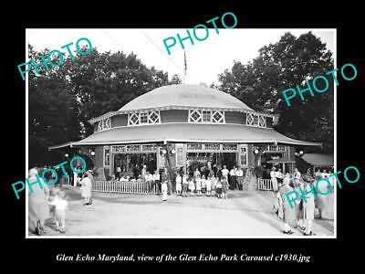 OLD LARGE HISTORIC PHOTO OF GLEN ECHO MARYLAND, THE ECHO PARK CAROUSEL c1930