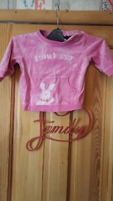 Baby Girls Pink Fleeced Long Sleeved Top Size 6/9 Months