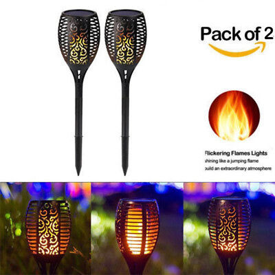 2PCS 96 LED Solar Torch Light Flickering Lighting Dancing Flame Garden Lamps UK