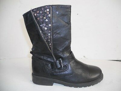 GIRLS BLACK ANKLE WINTER FUR LINED LACE UP SCHOOL BOOTS SIZES 10-2.5 KZY01