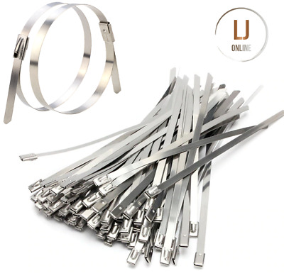 Stainless Steel Metal Cable Ties Exhaust Zip Wraps 200mm 360mm x 4.6mm Packs