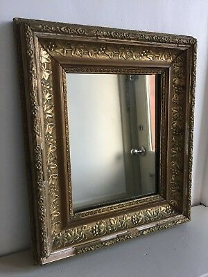 Antique Moulded Wooden Distressed Wall Mirror Gold Small 36x31cm (m83)