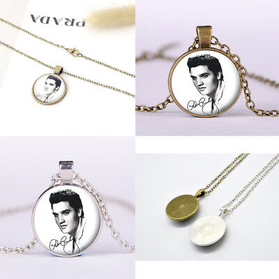 Elvis Presley The King  Art Cabochon Glass Silver Tile Chain Pendant Necklace
