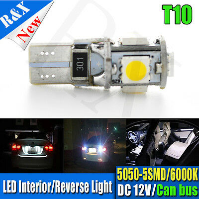 2x T10 CANBUS LED Bulb WHITE  Wedge 5050 SMD Parker Number Plate W5W T10 194 168