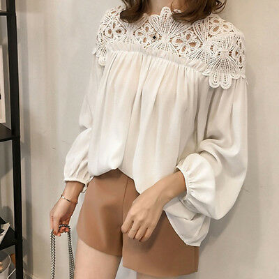 Fashion Women O-neck Long Sleeve Hollow Lace Decorated Sleeve Casual Blouse 6A