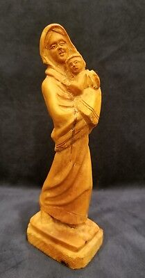 Antique Vintage Hand Carved  Wood  Mother & Child Statue Anri Style