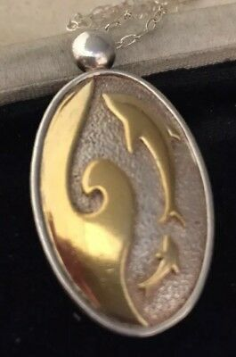 Vintage Jewellery Beautiful sterling silver & gold plate leaping dolphin pendant