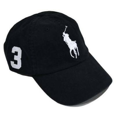 Polo Ralph Lauren Baseball Cap Black White Big Pony One Size Adults Unisex Sale