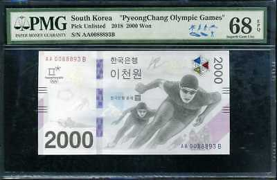 South  Korea 2000 2,000 Won Nd 2018 Aa-A P New Superb Gem Unc Pmg 68 Epq