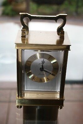 Vintage extemely fine quality English made brass carriage clock quartz movement