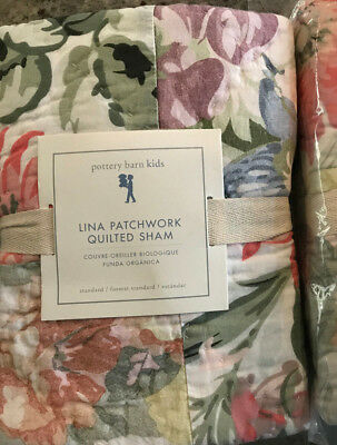 Pottery Barn Kids Lina Patchwork Floral Standard Quilted Sham NEW