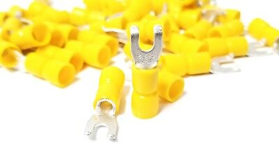 100PK FLANGED FORK Terminal, 12-10 Yellow Vinyl Insulated #6 Hook