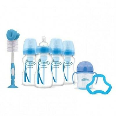 Dr Brown's Baby Bottle Gift Set Newborn Options Teether Blue