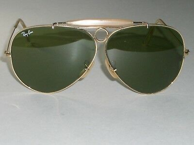daff9d52f01 1980 s VINTAGE B L RAY-BAN RB3 TRU-GREEN UV ARISTA SHOOTING AVIATOR  SUNGLASSES