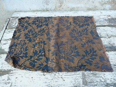 "Antique  French Chateau 1900 damask  floral upholstery fabric 24.9 "" x 19.3 """