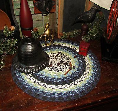 Primitive Vtg Style Country Farmhouse BRAIDED Candle Trivet LARGE ROUND MAT #312