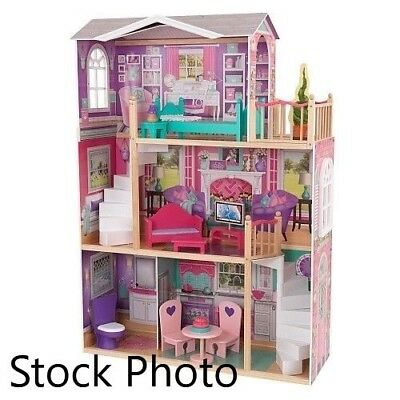 Kidkraft Elegant Wooden Doll Manor With 12 Pieces Of Furniture For