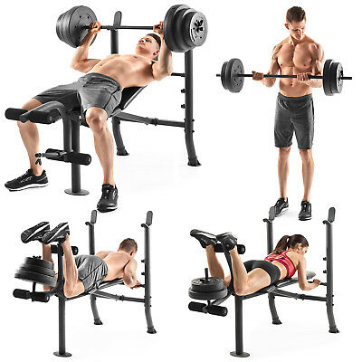 Weight Bench With Weights Set 100 Lb Vinyl Home Gym Workout Fitness Combo Kit