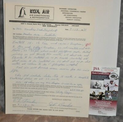 Leo Fender Signed 1971 Contract Bid For New Fender Site JSA Certificate 1/1