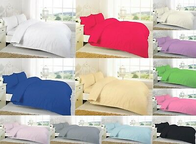 Polycotton Plain Dyed Duvet Quilt Cover With Pillowcase Bedding Set In All Sizes