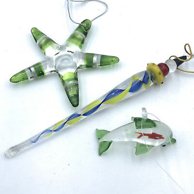 3 Glass Christmas Tree Ornaments Spiral Starfish Dolphin with Fish Inside