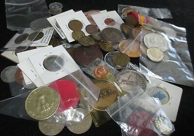 Mixed Lot of Vintage 100+ World Coins, Medals Car Wash Amusement Tokens