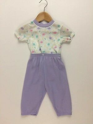 Vintage Fisher Price 2 pc Pajama Snap Waist Bear Cloud Purple 12 months USA