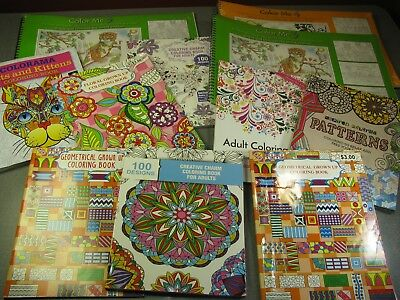Lot of 11 Adult Coloring books Varying Condition, Used & New
