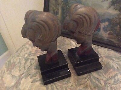 Art Deco Flapper Head Metal and Marble Bookends