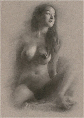 Female Nude DRAWING Charcoal Chalk ORIGINAL Fine Art naked lady model NO RESERVE
