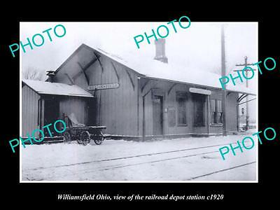 OLD LARGE HISTORIC PHOTO OF WILLIAMSFIELD OHIO, THE RAILROAD DEPOT STATION c1920