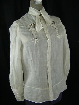 Antique Early 20th Century White Crochet Eyelet Long Sleeve Blouse(c)-Bust 36/XS