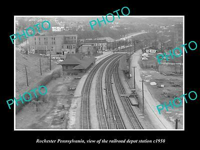 Old Large Historic Photo Of Rochester Pennsylvania Railroad Depot Station 1950 2