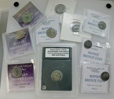 Group of 10 Ancient Roman Bronze Coins, 1 INB Certified