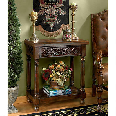 Solid Mahogany Hand Carved Antique Replica Gothic Style Quatrefoil Console Table