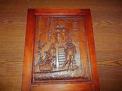 Antique Hand Carved Wooden Wall Hanging Medieval Family with Foppish Son