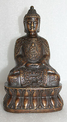 A Superb Vintage Chinese Bronze Buddha on Lotus Statue with Xuende Sign Base