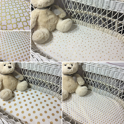Bassinet fitted sheet Moses Boori baby bedding gold and white moses basket sheet