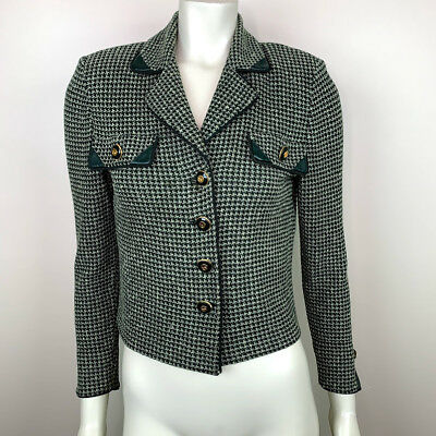 St John Collection By Marie Gray Womens Size 4 Blazer Green Jacket *Flaws