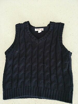 Boys Plum Vest Size 2 Knitted Navy Blue