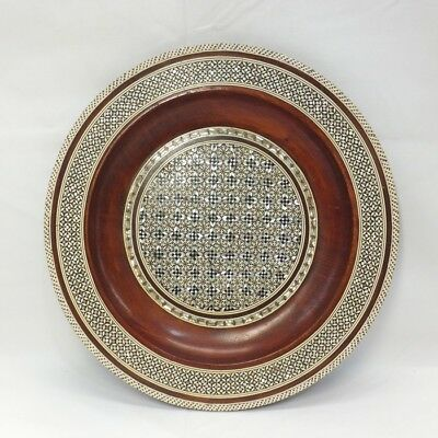 B897: Korean wooden ornamental plate with fine inlaid mother-of-pearl work