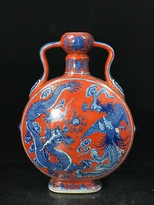 "13"" Qianlong China antique Porcelain red glaze blue & white Dragon Phoenix vase"