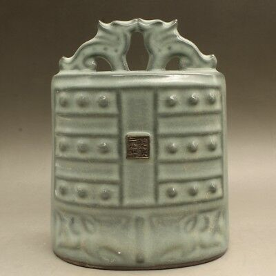 """7"""" Song guan kiln China antique Porcelain open slice bell chime"""