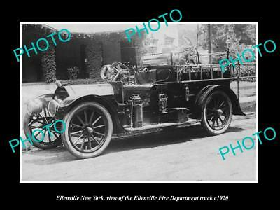 OLD LARGE HISTORIC PHOTO OF ELLENVILLE NEW YORK, THE FIRE DEPARTMENT TRUCK c1920