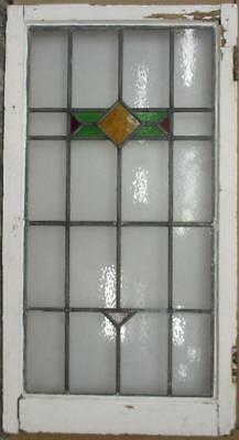 "LARGE OLD ENGLISH LEADED STAINED GLASS WINDOW Awesome Geometric 18.25/"" x 41/"""
