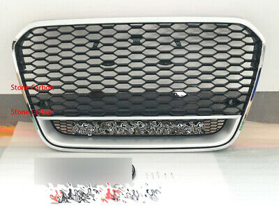RS Style Grille Grill For 05-10 11 Audi A6 C6 S6 Matt Silver Frame Chrome Rings