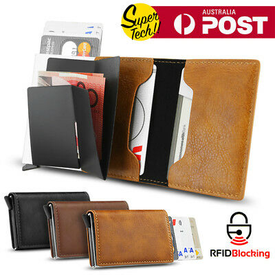 2018 Leather Credit Card Holder Money cash Wallet Clip RFID Blocking Purse AU
