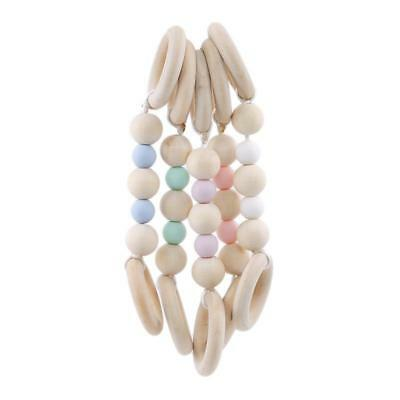 Wooden Ring Baby Teether Activity Nursing Play Gym Beads Chewable Toy 6N